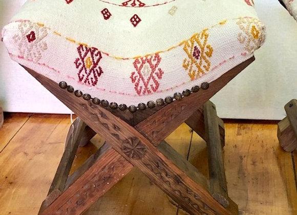 Boho Handmade Turkish Teahouse Stool Kilim