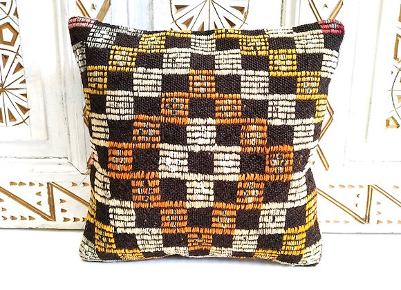 Vintage Kilim Pillow -            Textured autumn