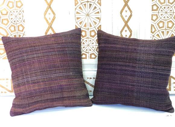 VintageTurkish Kilim Pillow- Textured aubergine