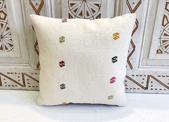 Vintage Turkish Boho Pillow         40x40cm Snow detail