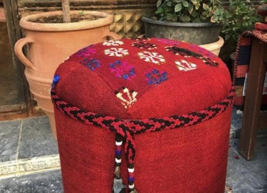 Vintage Kilim Pouf with nomadic tassels