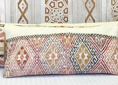 Vintage Turkish Kilim Cushion - Small Lumber 60 cm x 35 cm (1ft 11 in x 9