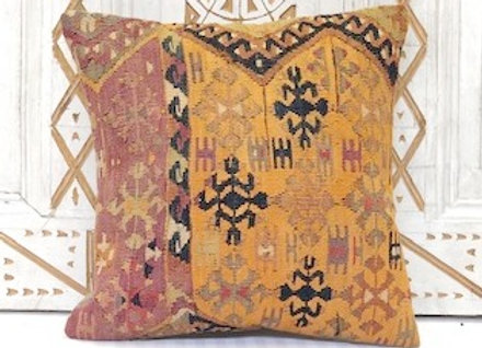 Vintage Turkish Kilim Cushion - Pumpkin & Aubergine