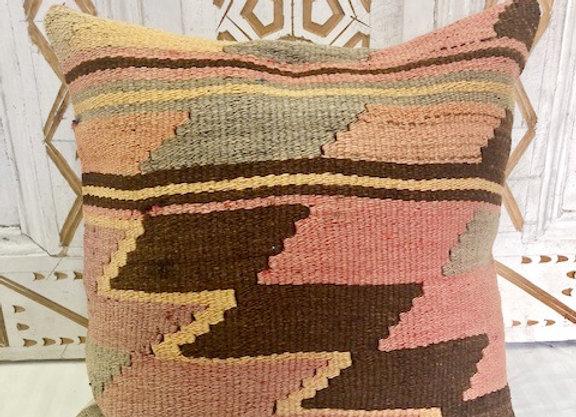 Vintage Boho Kilim Pillow - Geometric Pastel
