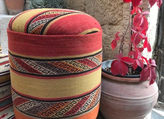 Subtle Fine Stripe - Vintage Kilim Pouf