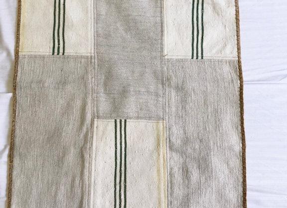 Vintage Nomadic Patchwork Rug - with Tassels + Green Stripe No3