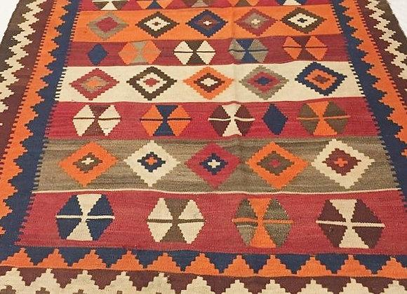 Vintage Tribal Quaqai Kilim - Iran