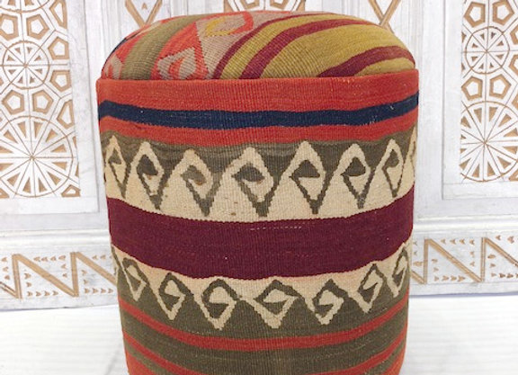 Vintage Kilim Pouf - Soph,sticated Olive with White x 2