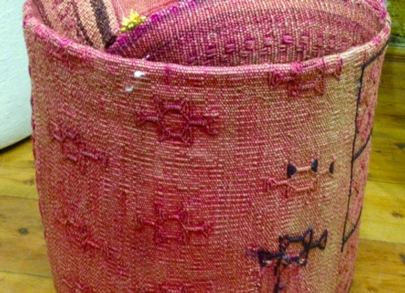 Textured Pink - Vintage Kilim Pouf