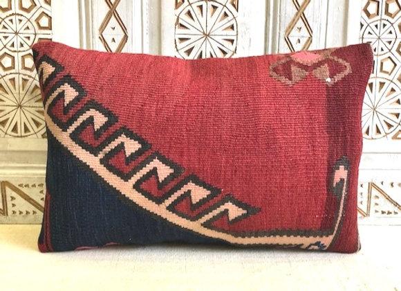 Vintage Kilim Pillow -  65x43cm bold graphic