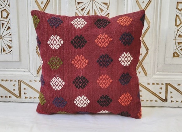 Vintage Kilim Pillow           40 x 40 cm 'Red flowers'