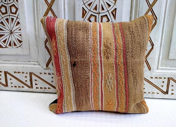 Turkish Boho Kilim Cushion -Cinnamon Stripe