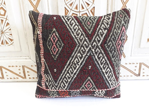 Turkish Kilim Cushion  - Charcoal with motifs