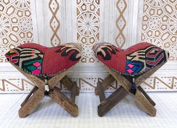 Handmade Turkish Teahouse Stool Kilim + Tassels