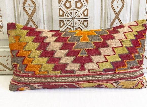 Vintage Turkish Kilim Pillow - Wild Boho 65x43cm