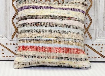 Vintage Turkish Kilim Cushion - Natural +wild ribbon