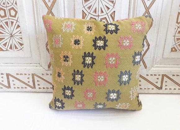 Turkish Vintage Kilim Pillow - Pistachio dream