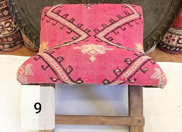 Handmade Turkish Kilim Teahouse Stool  -Boho Pink