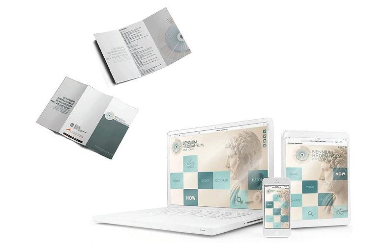 Biennium Hadrianeum: studio grafico. Immagine coordinata, brand identity, logo, grafica. Euforia Creative Hub.