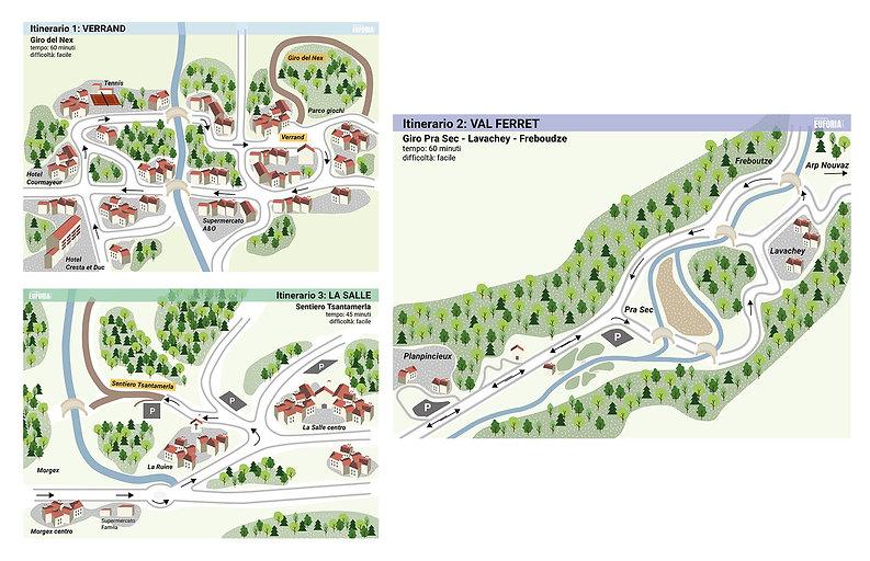 Courmayeur: segnaletica cartine turistiche. Grafica. Euforia Creative Hub.
