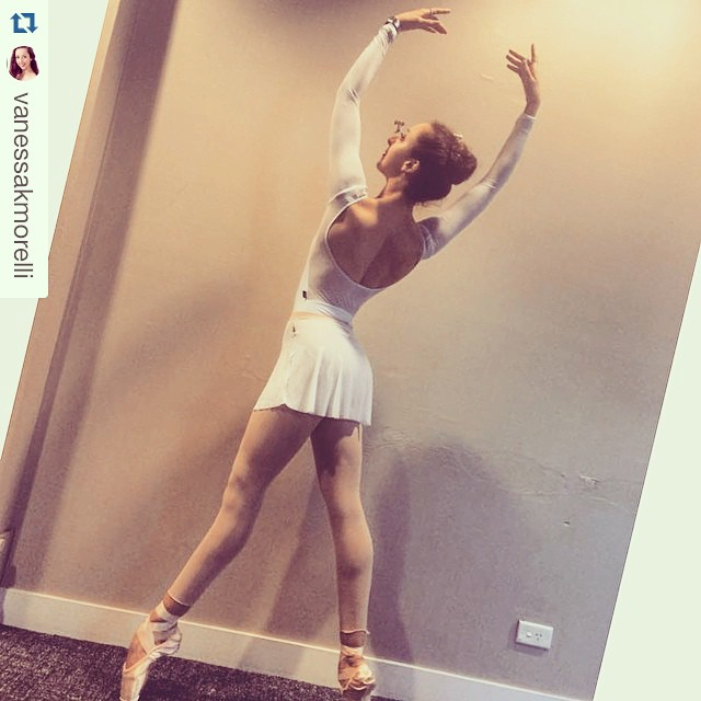 _vanessakmorelli looking ever so elegant all in white! #linadancewear #handmade #custom #ballet #leo