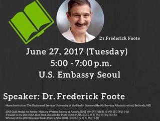 [주한미국대사관 초청장] 'Frederick Foote 박사와 함께하는 Literary Therapy (문학을 통한 치료) 행사'