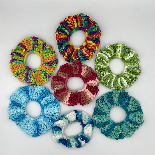 Crocheted hair scrunchies
