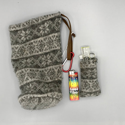 Grey Patterned Stash Bag