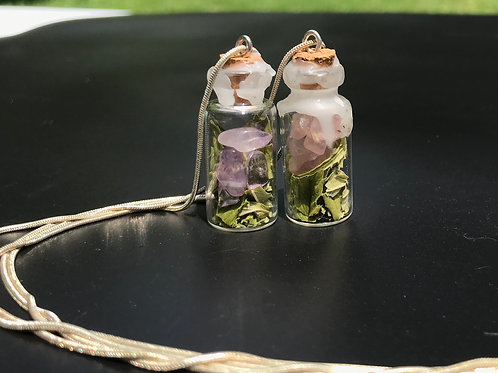 Tiny Bottle Necklaces some with CBD leaves