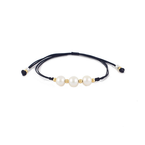 Pulsera Triple de Perlas Blancas