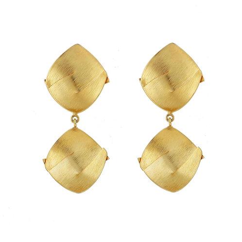 Aretes Rehilete dobles con chapa de oro
