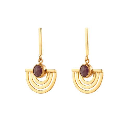 Aretes abanico de rubí con chapa de oro