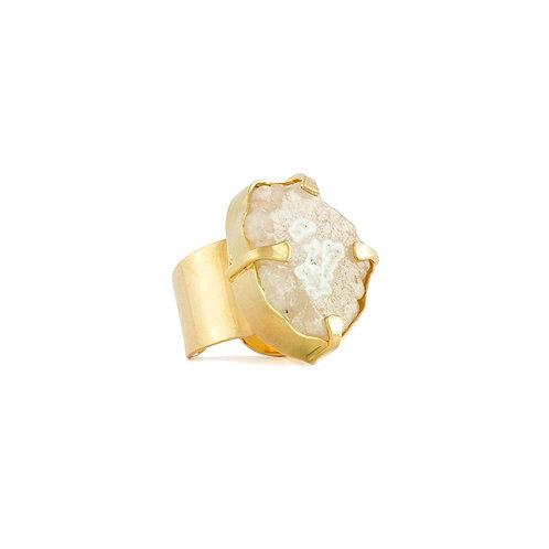 Anillo de cuarzo solar con  chapa de oro