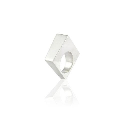 Anillo Rombo 3D en plata