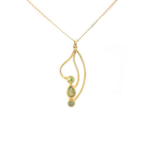 Collar Atenea de Peridotos y Chapa de oro