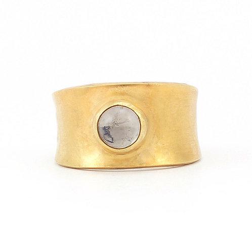 Anillo de cristal Murano en plata con chapa de oro