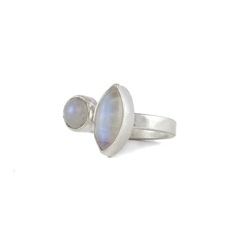 Anillo Piedra Luna Doble en plata .925