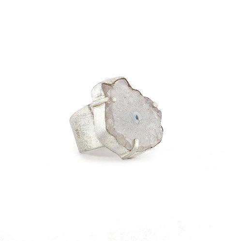Anillo de cuarzo solar en plata .925