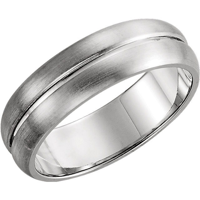 Grooved White Gold Men's Band