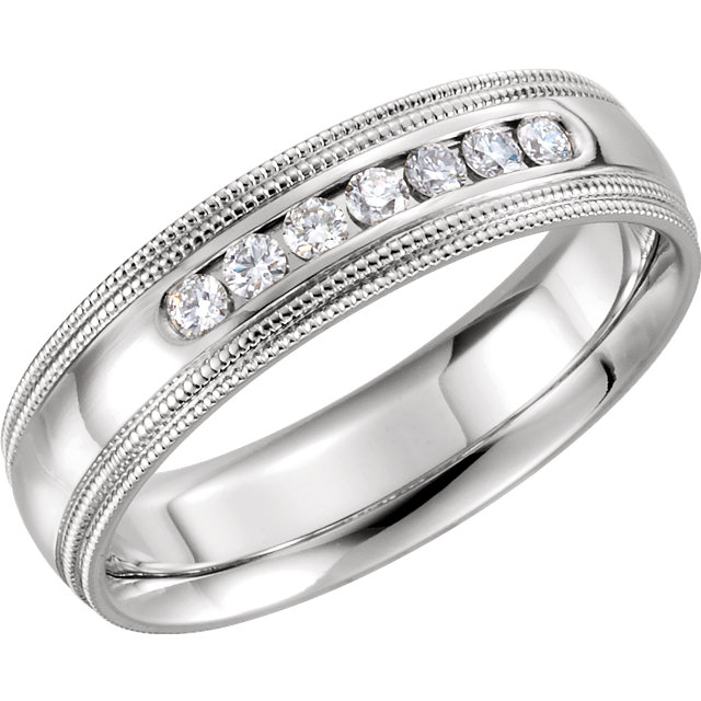 Double Milgrain Accented Comfort Fit Band White Gold - 122719