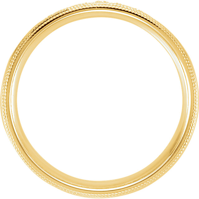 Double Milgrain Accented Comfort Fit Band Yellow Gold through view- 122719