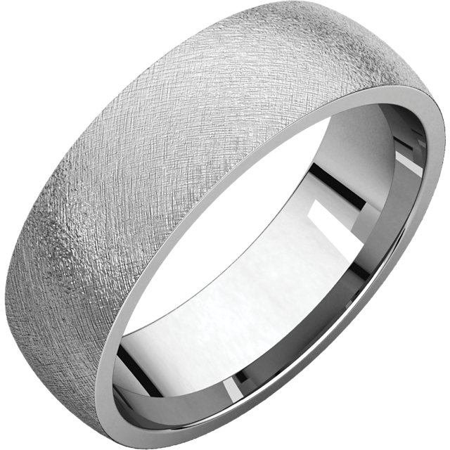 Comfort Fit Light White Gold Men's Band Ice finish
