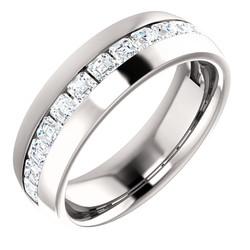 Diamond Center Accented Band with Asscher Cut Diamonds 2.6x2.6mm - 123307