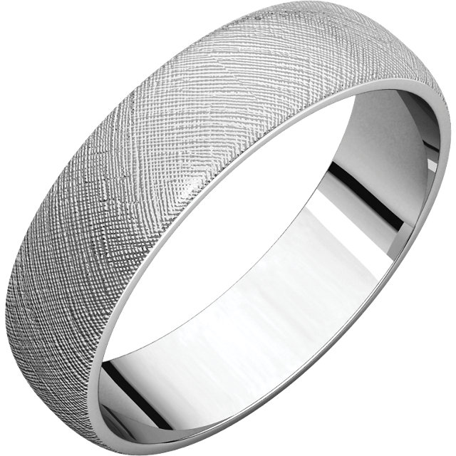 Half Round Light Men's Band White Gold Florentine finish