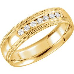 Double Milgrain Accented Comfort Fit Band Yellow Gold - 122719