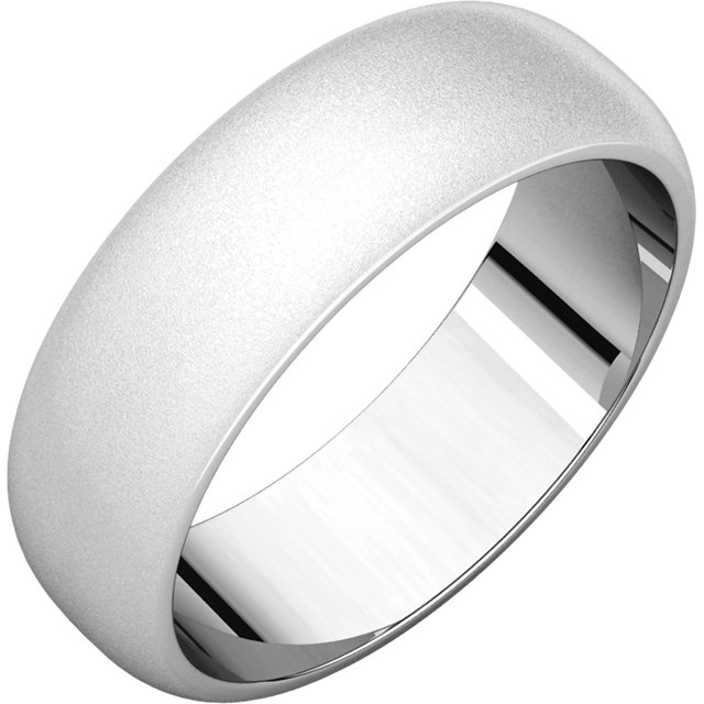 Half Round Men's Band White Gold Glass Blast finish