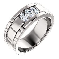 Three Stone Band Oval Cut Diamonds - 123522