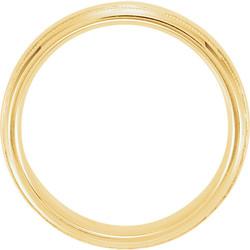 Half Round Comfort Fit Milgrain Yellow Gold Men's Band through view  - 51542