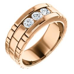 Three Stone Band 0.6 CTW Round Rose Gold - 123522