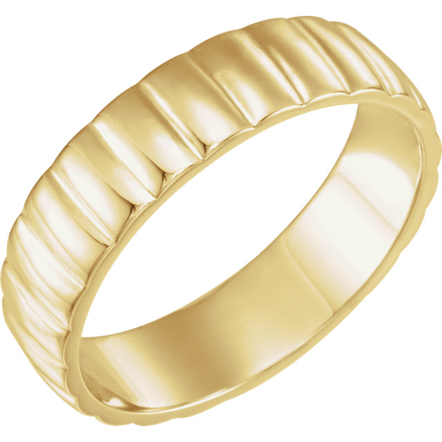 Grooved Bar Yellow Gold Men's Band through view- 51775